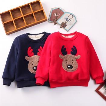 Plush Lining Reindeer Applique Pullover
