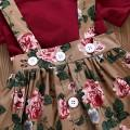 Ruffle Romper Buttons Decor Floral Dress and Headband Set