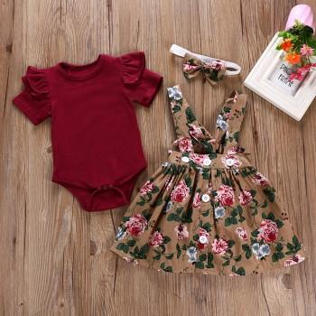 3 Pcs Ruffle Sleeve Crimson Romper Buttons Decor Floral Dress and Headband Set