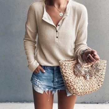 Solid Color Cozy Knit Thin Sweater