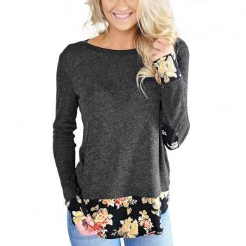 Floral Color Blocked Elbow Patches Round Neck Long-sleeve Tee
