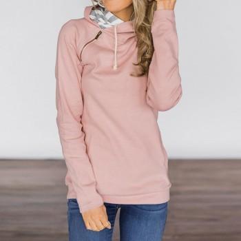 Soft Solid Color Zipper Sweatshirt Hoodie
