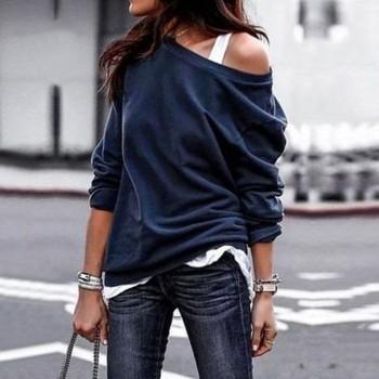 Solid Color Loose Collar Top