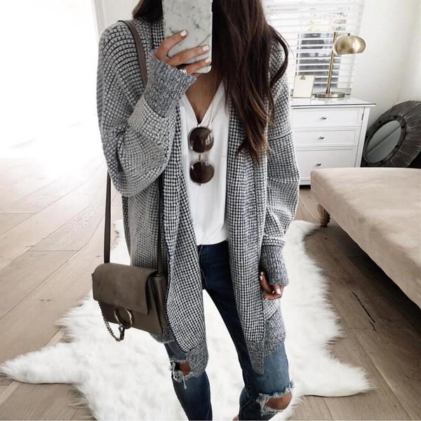 Stylish Solid Plaid Knitwear Long-sleeve Cardigan For women