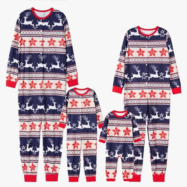 Running Reindeer Printed Family Pajamas for Christmas
