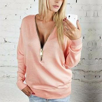 Stylish Solid Front Zipper Design Long-sleeve for Women