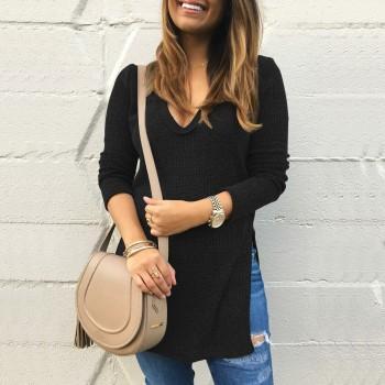 Women's V-neck Long Sleeve Sweater