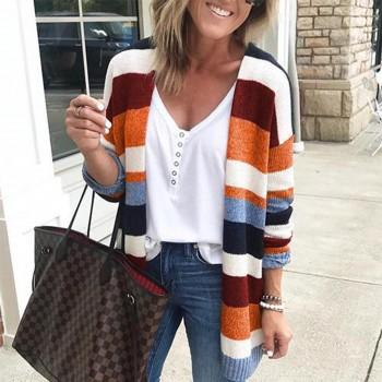 Stylish Stripe Color block Knitwear Cardigan For women