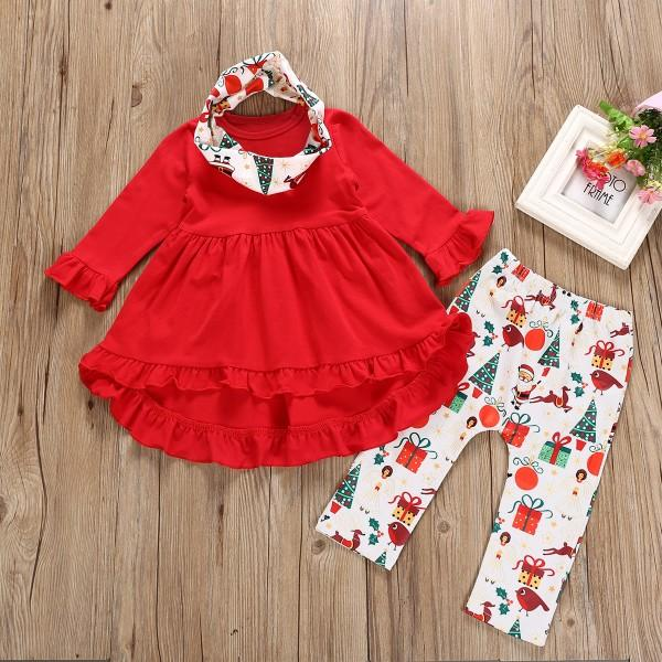 3 Pcs Ruffled Red Tunic Leggings and Scarf Chritmas Outfit