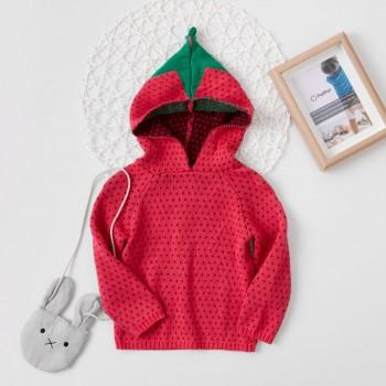 Knit Strawberry Hooded Sweater