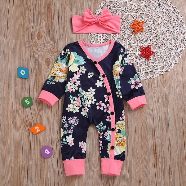 Seven-quarter Sleeve Floral Jumpsuit with Headband