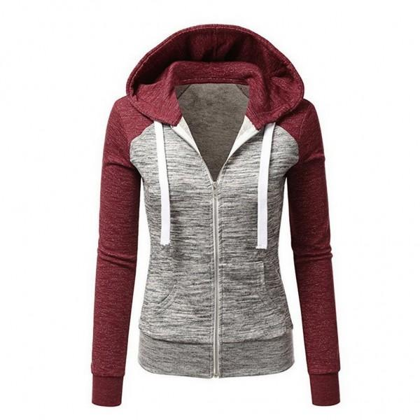 Color Block Zip Front Pocket Fitted Casual Long-sleeve Hoodie