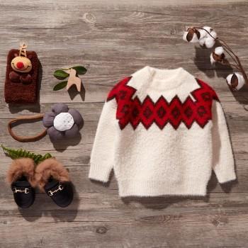 Plush Geometric Jacquard Sweater