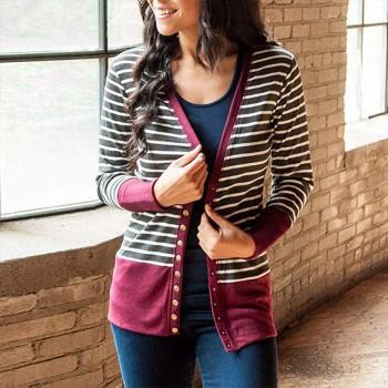 Chic Striped Long-sleeve Cardigan