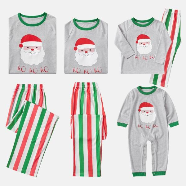 Green and Red Colorblock Family Matching Pajamas with Santa Printed