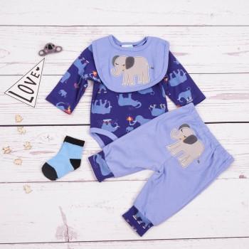 4-piece Elephant Pattern Bodysuit Bib Solid Pants and Socks Set for Baby Boy