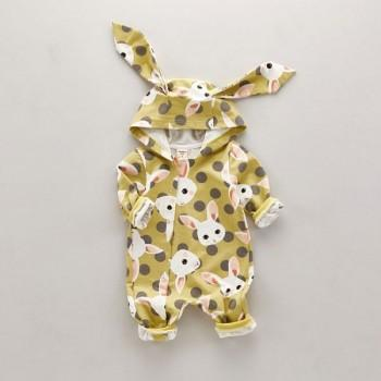 Cute Rabbit Hooded Long Sleeves Jumpsuit for Baby Boy