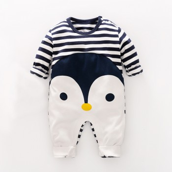 Penguin Print Stripes Long-sleeve Jumpsuit for Baby Boy