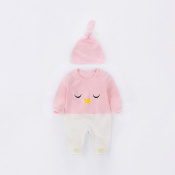 Adorable Pattern Color-block Long Sleeves Jumpsuit and Hat for Baby and Newborn