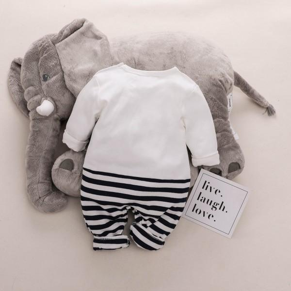 Adorable Elephant Graphic Striped Jumpsuit for Baby
