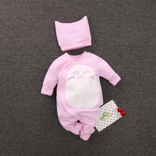 Cute Cartoon Print Long-sleeve Jumpsuit and Hat Set for Baby