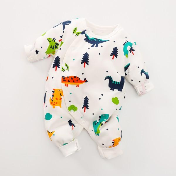 Allover Adorable Dinosaur Pattern Long Sleeve Snap-up Jumpsuit in Grey for Baby and Newborn