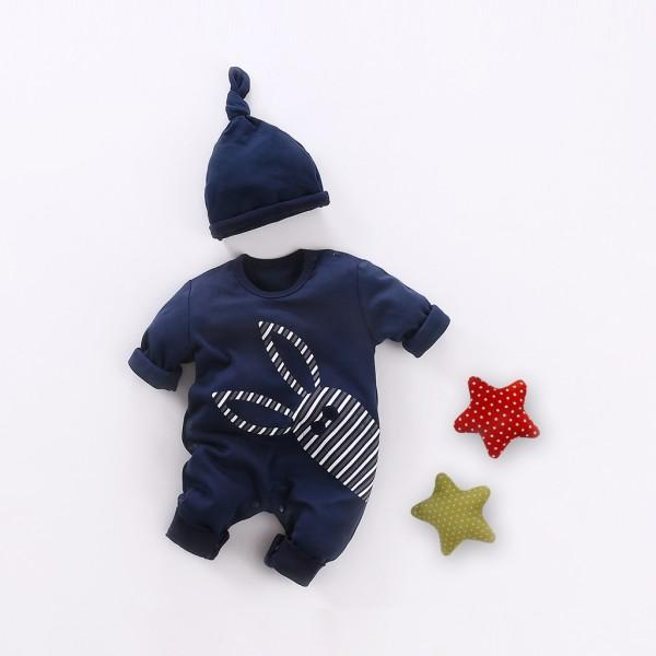 2-piece Rabbit Print Navy Cotton Jumpsuit and Hat for Baby