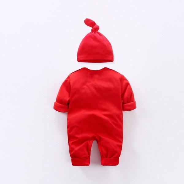Baby's Lovely Deer Printed Jumpsuit in Red