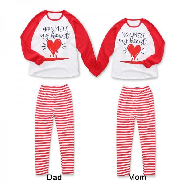 2-piece Letter Heart Print Tee and Stripes Pants Family Matching Set