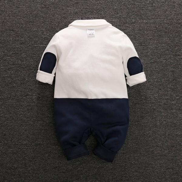 Handsome Faux-2 Bowknot Long-sleeve Jumpsuit for Baby