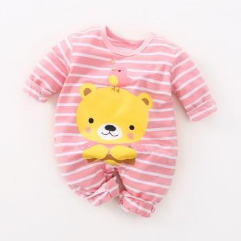 Fresh Bear Print Striped Long-sleeve Jumpsuit for Baby