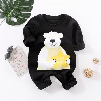 Cute Bear Print Comfy Black Long-sleeve Jumpsuit for Baby