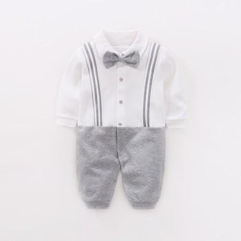 Graceful Faux-two Long Sleeves Cotton Jumpsuit for Baby Boy