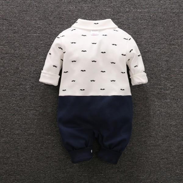 Lovely Mustache Pattern Long-sleeve Faux-2 Jumpsuit for Babies