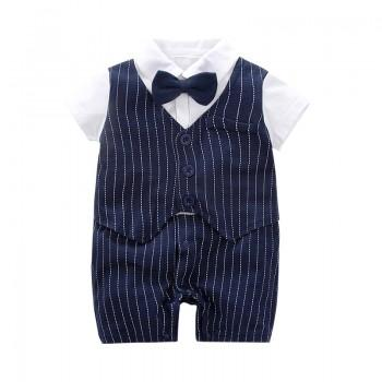 Handsome Striped Bow Tie Jumpsuit in Navy for Baby Boy