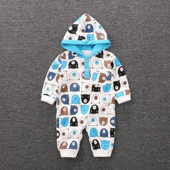 Comfy Bear Pattern Long Sleeves Hooded Jumpsuit for Baby