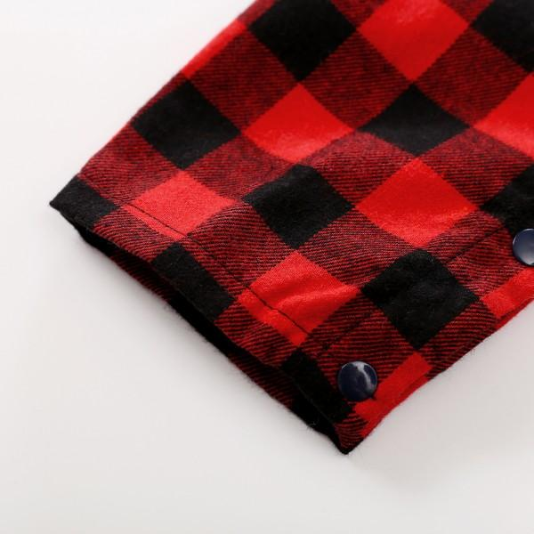 Trendy Plaid Long-sleeve Shirt Jumpsuit for Baby Boy