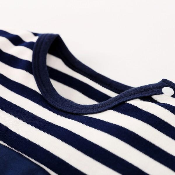 Lovely Striped Penguin Print Long-sleeve Jumpsuit and Hat Set in Dark Blue for Baby Boy