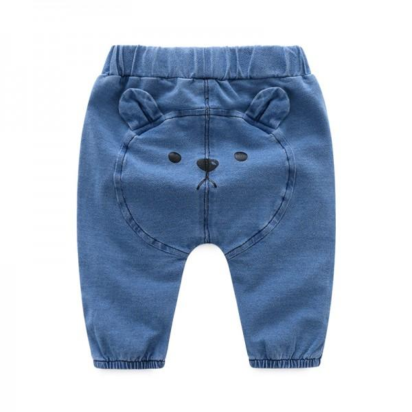 Cute Bear Applique Jeans for Baby Boy