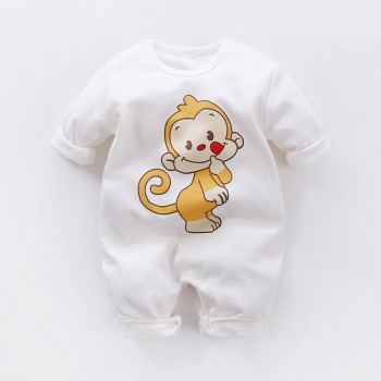 Baby's Cute Monkey Print Jumpsuit in White