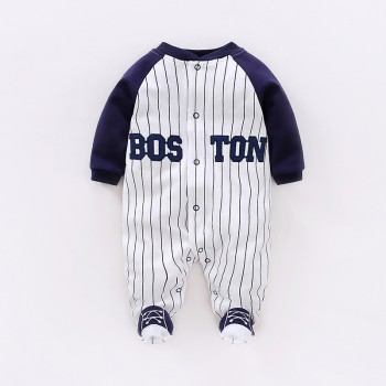 Fashion Letters Print Footed Long-sleeve Baseball Uniform Jumpsuit for Baby Boy