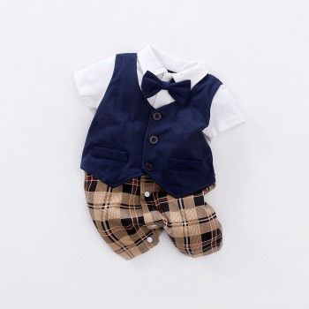 Handsome Faux-two Plaid Short Sleeve Romper for Baby Boy