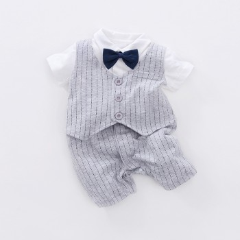 Faux-2 Handsome Striped Short-sleeve Bow Tie Decor Jumpsuit for Baby Boy