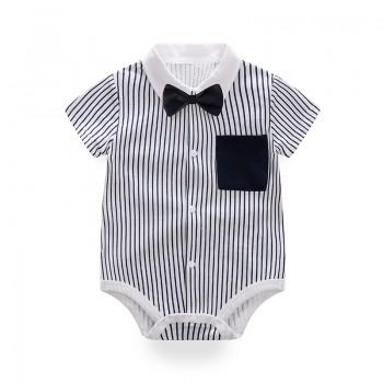 Handsome Striped Bow Tie Decor Short-sleeve Romper for Baby Boy
