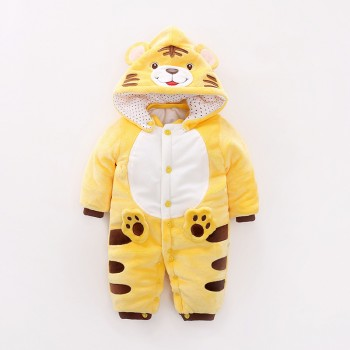Cute Tiger Design Long-sleeve Hooded Flannel Jumpsuit for Baby