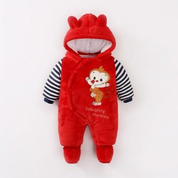 Comfy Monkey Appliqued Hooded Long-sleeve Footed Jumpsuit for Baby