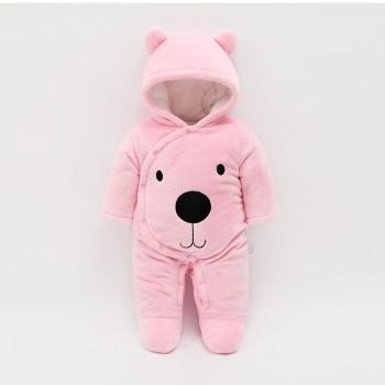 Cute Bear Design Hooded Long-sleeve Footed Jumpsuit for Baby