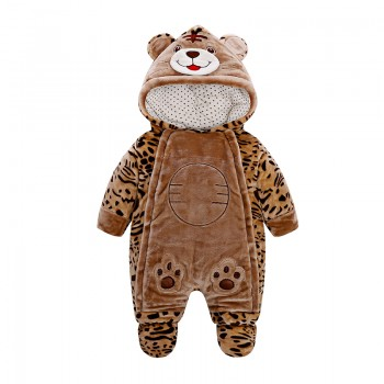 Cute Leopard Design Long-sleeve Footed Jumpsuit for 6-9 Months