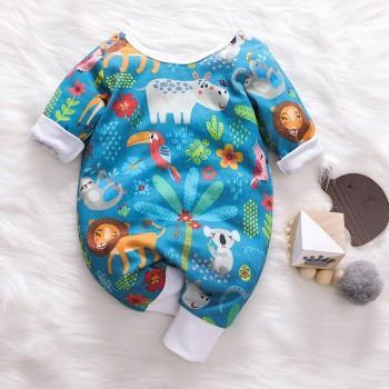 Plenty Animal Design Long-sleeve Jumpsuit for Baby