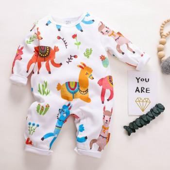Vivid Alpaca Printed Long-sleeve Jumpsuit for Baby